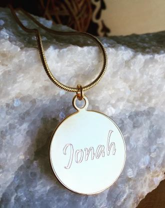 Custom charm necklace, Monogram Disc necklace, engraved Gold name necklace, Personalized gift, bridesmaid gift, coin necklace, round tag