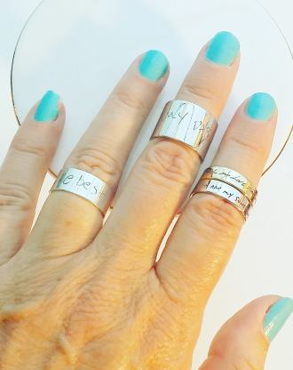Custom Signature ring, handwriting engraved silver ring band, stackable name ring, memorial keepsake gift, personalized adjustable ring