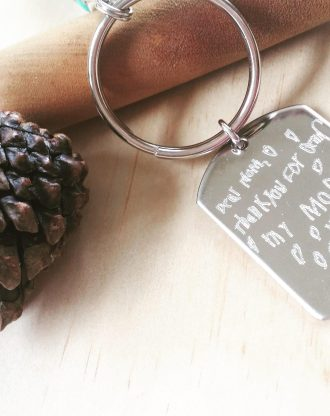 Handwriting key chain, Personalized Engraved keychain, signature ke chain, gift for mommy, actual handwritten gift, custom drawing