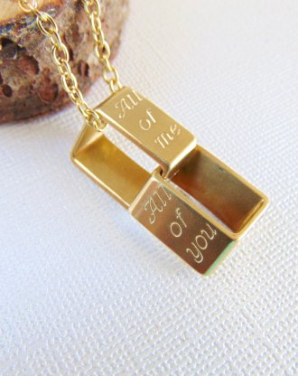 Linked Necklace, Customized Eternity necklace, Geometric name Interlock rectangle Necklace, layered pendant, personalized engraved LOVE gift