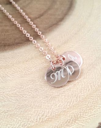 Monogram Disc necklace, Rose Gold Initial necklace, Personalized name gift for mom, engraved Gold initial charm necklace, bridesmaid gift
