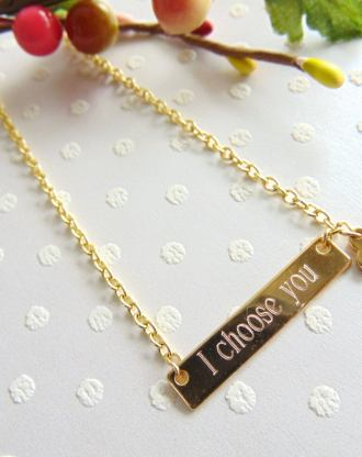 Personalized bar necklace, gold, silver or rose gold custom bar, girlfriend, wife birthday gift, engraved layering jewelry, heart charm