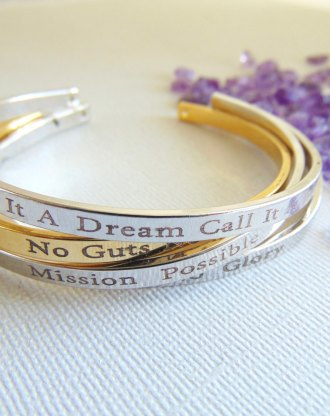 Personalized Bracelet, 16K gold bangle, custom text layered cuff, Secret message, Hand stamped quote Mantra cuff, engraved motivation quote.