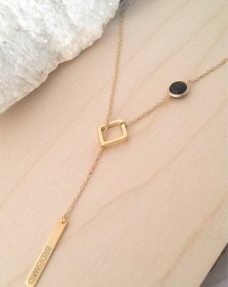 Personalized bridesmaid gift, Custom lariat necklace, engraved bar necklace, Asymmetrical black and gold necklace, long Y necklace.