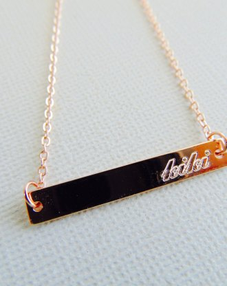 Personalized Bridesmaid necklace, Rose Gold Bar Necklace engraved Nameplate customized name pendant Horizontal stamped necklace Gift for her