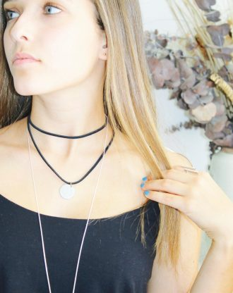 Stainless disc choker, Black leather coin necklace, double strand wrap choker, initial necklace, stamped letter necklace, coin choker.