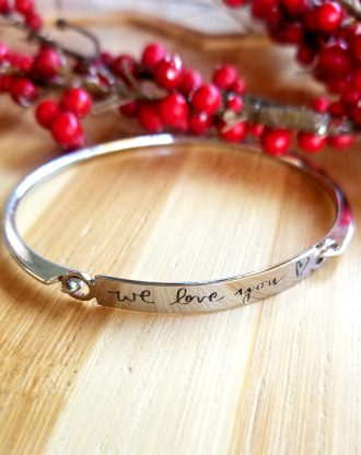 Custom handwritten bangle, actual handwriting bar bracelet, engraved signature cuff, Personalized signature Keepsake Gift, name bangle.