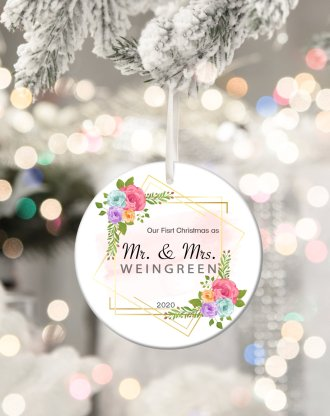 Our first christmas as MR and MRS ornament, first time married ornament, personalized couple's first christmas, holiday gift keepsake.