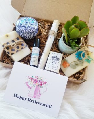 Happy Retirement care package,  Retirement gift basket, spa gift, good vibes gift box, send a gift, encouragement gift box, live succulent.