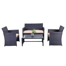 Bizx Rtcrm07blk Indoor Outdoor Seattle Rattan 4 Piece