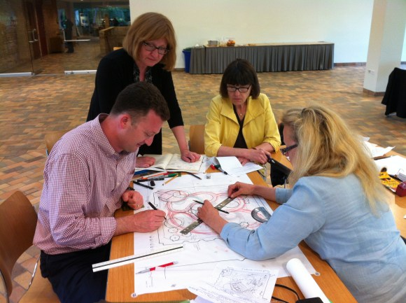 PHOTO: Another team sketches out their Healthcare Garden Design.