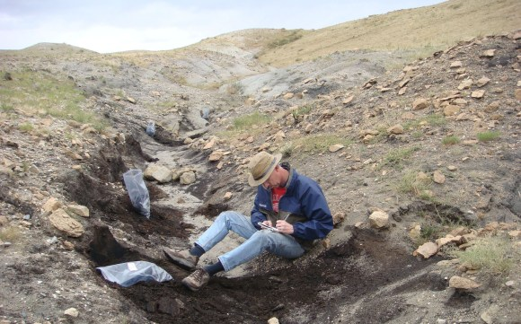 PHOTO: Pat Herendeen sits in a lignite trench on the steppe recording fossil finds. Two plastic baggies of fossils are nearby.