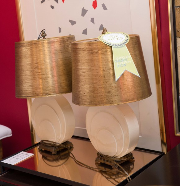 Booth #100, Lee's Antiques: A pair of 1930s American art deco ceramic and solid brass table lamps with original gold metallic shades.