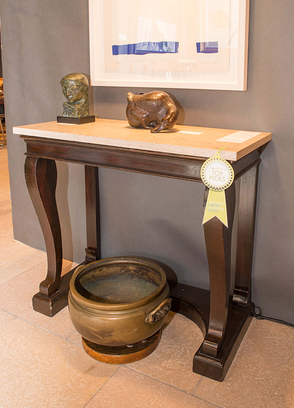 Booth #217, Framont: A pair of 19th century Empire console tables.