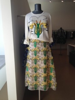 Each flower in the skirt's print has a petal that waves in the breeze as you walk.