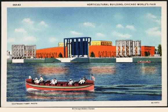 Front of postcard showing a rowboat on a lake in front of the Horticultural Building at the World's Fair grounds in Chicago, 1934.