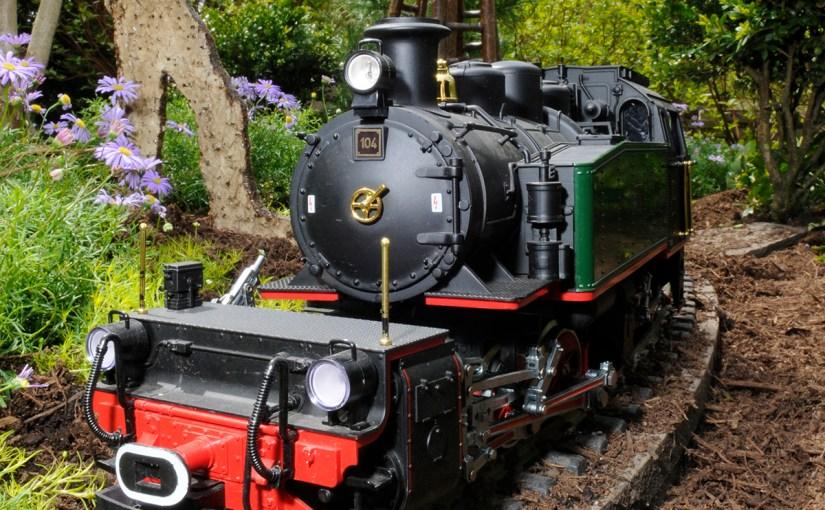 PHOTO: G-scale model railroad engine.