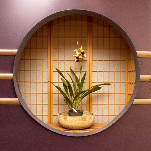 "A fabricated ""window"" backed by shoji screens for the Orchid Show 2018"