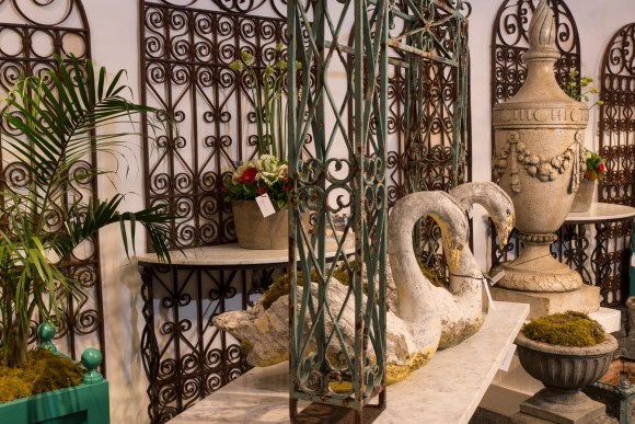 PHOTO: Garden gates and ornaments from the 2015 Antiques, Garden & Design Show preview party.