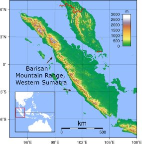 MAP: Sumatra, highlighting the western mountain range of the island.