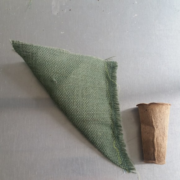 PHOTO: This shows what the burlap looks like after it is sewed in half.