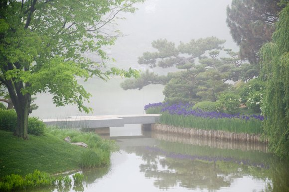 PHOTO: The Zigzag bridge at the Chicago Botanic Garden.