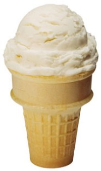 PHOTO: Plain vanilla ice cream cone.
