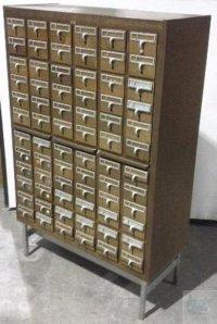 Vintage Wooden BroDart 72 Drawer Library Card Catalog ...