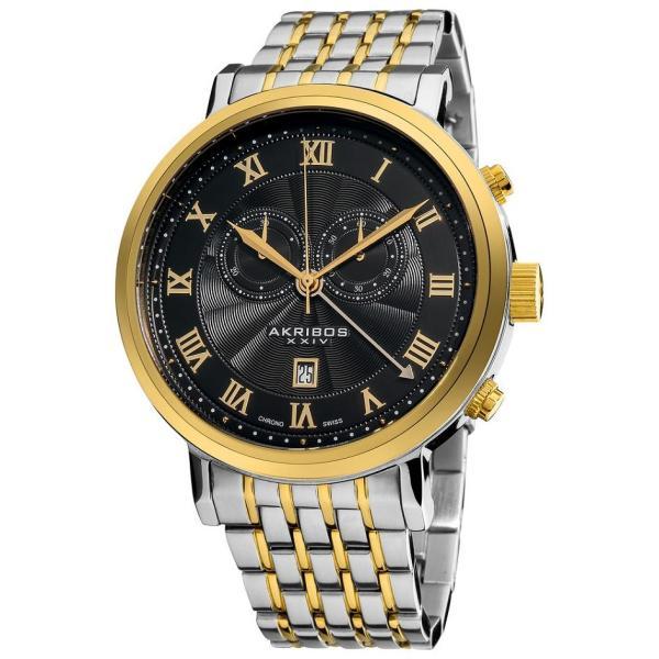 Akribos Xxiv Ak590ttg Swiss Chronograph Date Roman Numerals Mens Watch