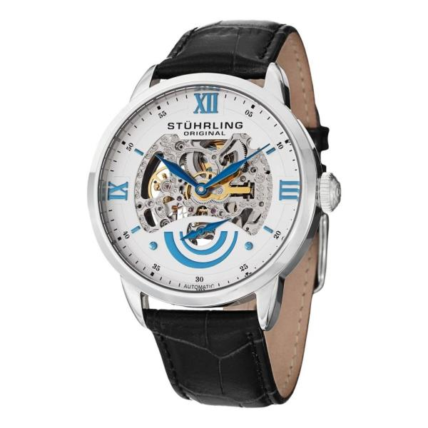 Stuhrling 574 01 Executive Ii Automatic Skeleton Dial Leather Strap Mens Watch