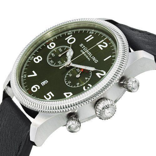 Stuhrling 482 33155 Velo Quartz Chronograph Date Green Dial Leather Mens Watch | eBay