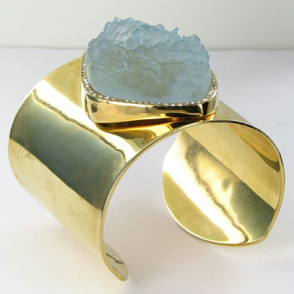 Kara Ross Wide Raw Resin Cuff Bracelet Crystals 14k Gold Plated 250