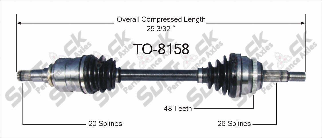 CV Axle Shaft-New TO-8158 fits 03-08 Toyota Corolla 1.8L