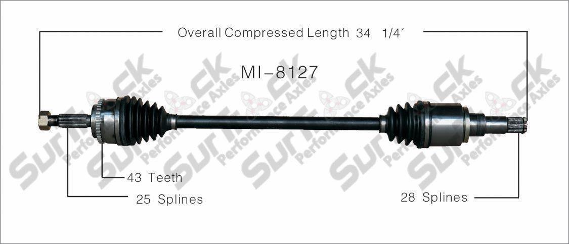 CV Axle Shaft-New Rear Right MI-8127 fits 04-08 Mitsubishi