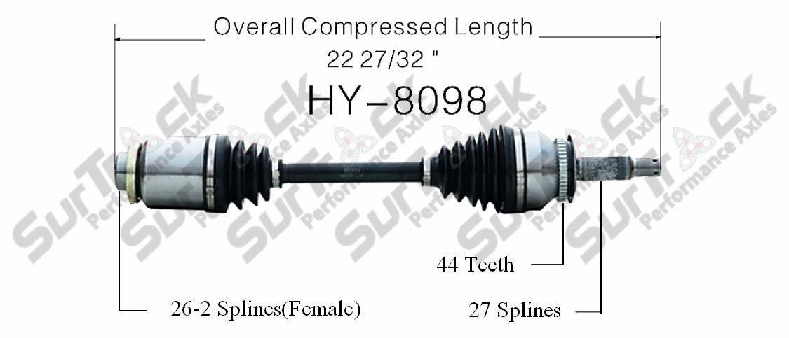 CV Axle Shaft-New Front Right HY-8098 fits 03-08 Hyundai