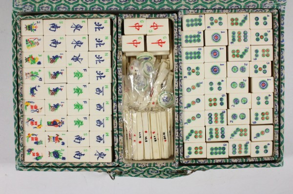 Antique Hand Carved Chinese Mah Jong Complete Set Bone And