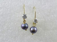 14k Yellow Gold Purple Cultured Pearl Cubic Zirconia ...