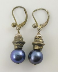 925 Sterling Silver Purple Cultured Pearl Drop Dangle