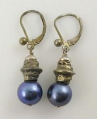 925 Sterling Silver Purple Cultured Pearl Drop Dangle