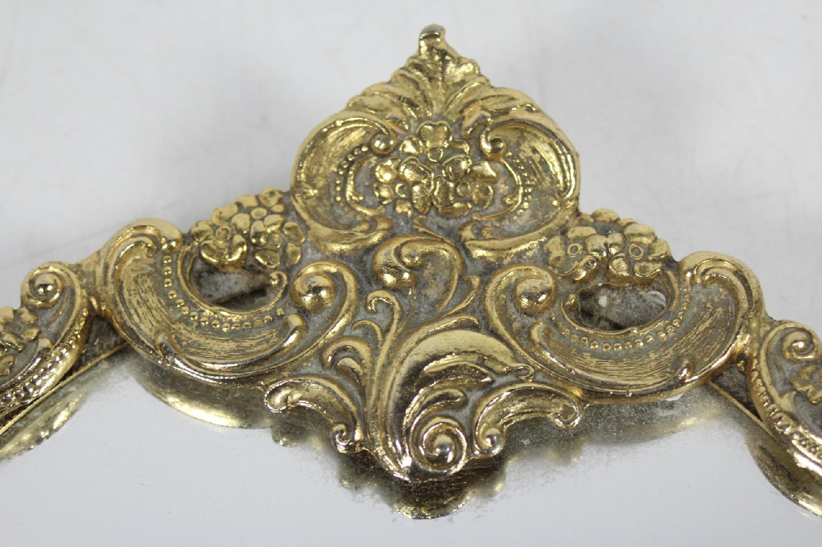 Vintage Ornate Decorative Brass Gold Tone Mirror Vanity