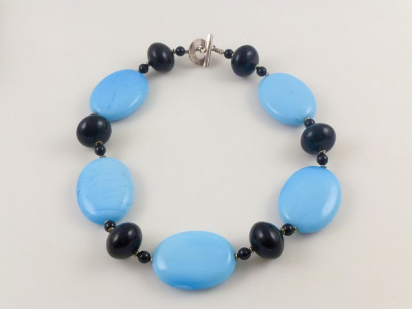 Sterling Silver Blue Black Glass Beaded String Toggle