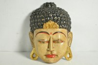 Hand Carved Hand Painted Wall Hanging Wood Buddha Mask ...