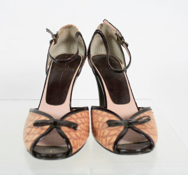 Paolo Brown Tan Peep Toe Cone Heel Ankle Strap Sandals