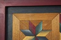 Vintage Folk Art Inlay Star Pattern Wood Quilt Parquetry ...