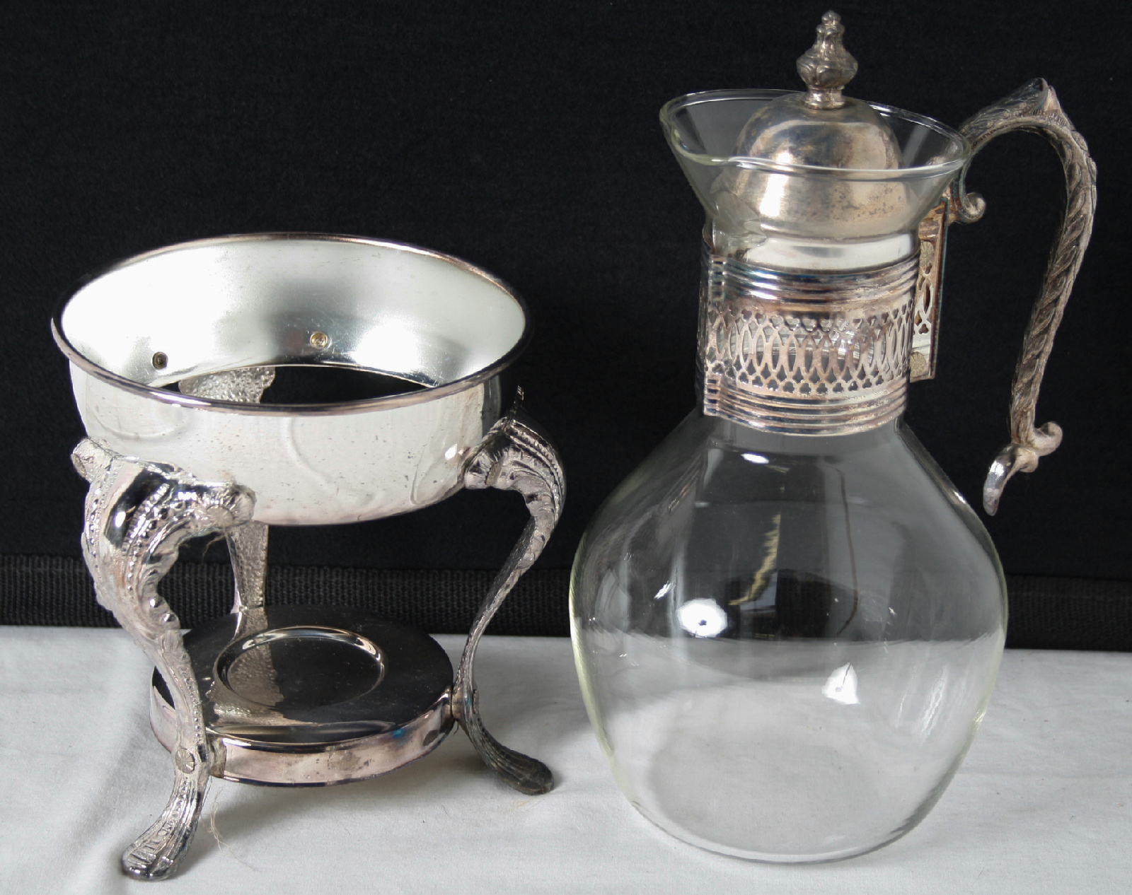Vintage Pedestal Glass And Silver Plated Coffee And Tea