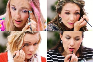 collage of 4 women of each Energy Type applying their makeup