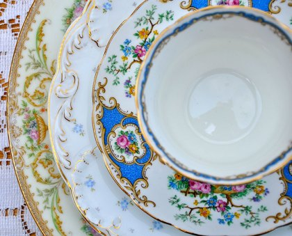 vintage mismatched china rentals in Washington DC