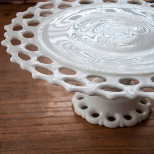 milk glass cake stand rental