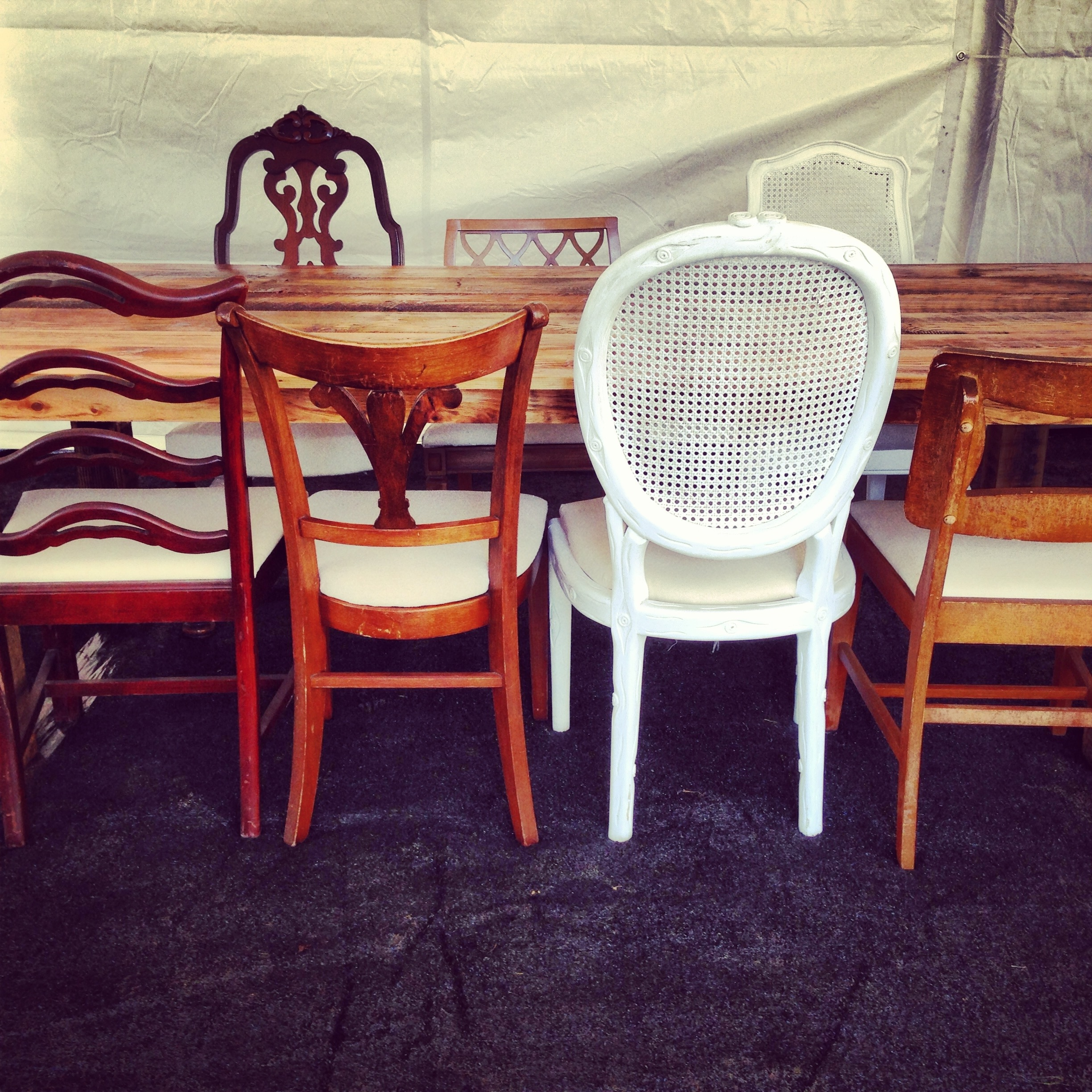 mismatched dining chairs ergonomic drafting chair canada vintage something rentals