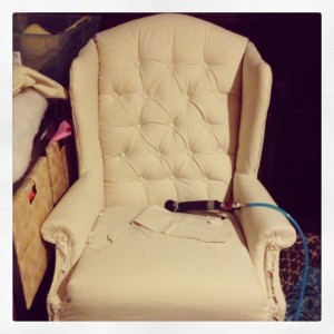 Vintage Tufted Chair for Repairs for Rent